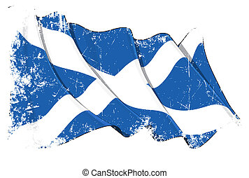 Grunge Flag of Scotland - Grunge illustration of a waving...