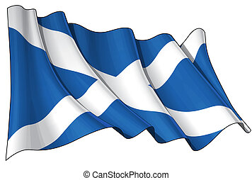 Flag of Scotland - Clean cut illustration of a waving...