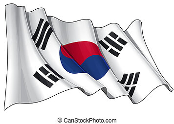 Flag of South Korea - Clean cut illustration of a waving...
