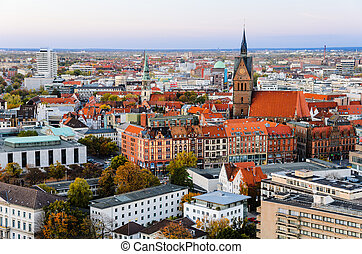 Marktkirche and Hannover City - Above view of the...