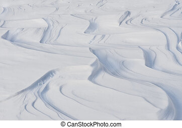White winter snowdrift curves detail, with no sky background