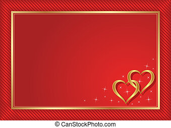 red background with golden hearts