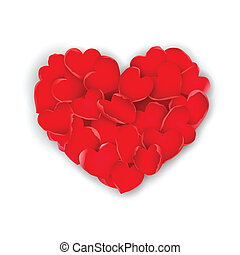 Rose petals Heart - illustration of valentine card with...