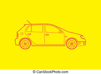 Car from the side - Outline illustration