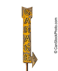 Vintage Neon Garage Arrow Sign Ruin - Vintage neon garage...