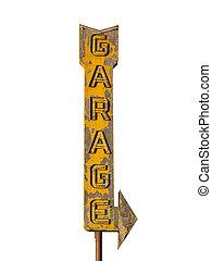 Vintage Neon Garage Arrow Sign Ruin - Vintage neon garage...