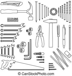 Outlined DIY hand tool set, illustration