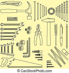Outlined D.I.Y. hand tool set, illustration