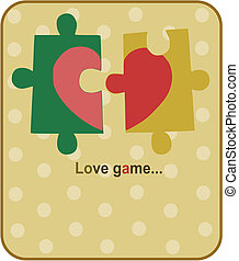Red heart in two piece - valentine puzzles
