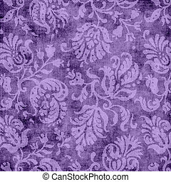 Vintage Purple Floral Tapestry - Worn purple floral tapestry...