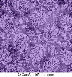 Vintage Purple Floral Tapestry - Worn purple floral tapestry...