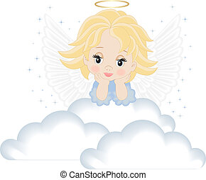 angel in white clouds isolated on white background