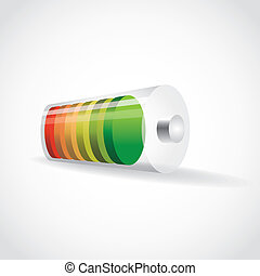 battery with color level of charge, illustration