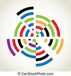 Split rings with many colours, abstract illustration