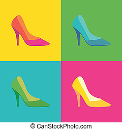 pop art high heel women shoes - illustration