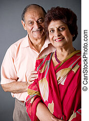 Elderly East Indian Couple - Portrait of a happy elderly...