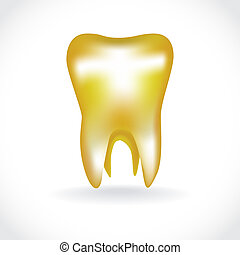 isolated golden human tooth - illustration