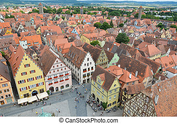 Rothenburg ob der Tauber, overview - Aerial and panoramic...