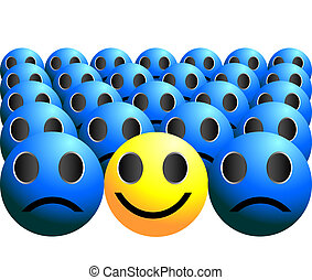 smiley ball stands out in a crowd