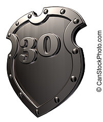 number on metal shield - metal shield with the number thirty...