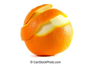 peeling orange - peeling one orange on white isolated...