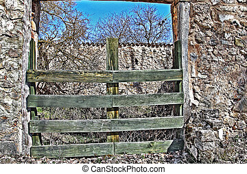 Old wooden door for livestock