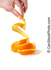 hand holding peel of orange