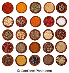 Huge spices collection, isolated on white background