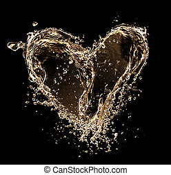 Heart symbol made of liquid splashes, isolated on balck...