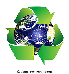 Planet Earth with Recycle Symbol on a white background