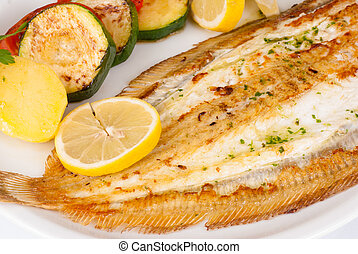 Grilled sole served with vegetables, a very Mediterranean...