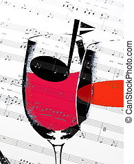 music score - illustration of music score with wine glass