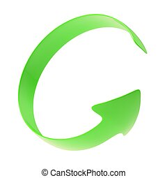 The green arrow is twisted around Isolated render on a white...
