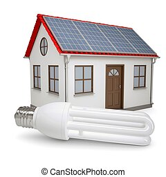 Energy saving lamp on the background of the house with solar...