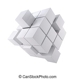 Abstract white cube Isolated render on a white background