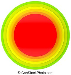 Button of colored discs Isolated render on a white...