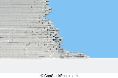 Unfinished brick wall. Sky in the background