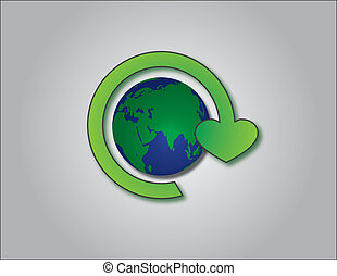 recycling symbol with planet earth