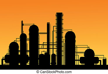 Chemical factory silhouette for industrial and technology...