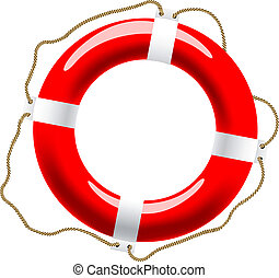 Life buoy icon - Life buoy with ropes for help and safety...