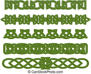 Green celtic ornaments - Green celtic ethnic ornaments and...