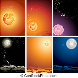 The star sky - Various variants of planets in the star sky