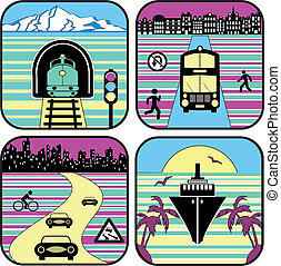 City life - Set of icons from a city life