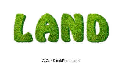 Grass land. - Illustration with land word on white...