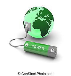 Battery connected to Earth - Illustration of green battery...