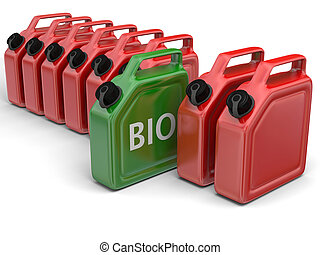 Bio fuel - Green bio fuel jerry can in between red canisters...