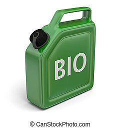 Jerry can with bio fuel - 3D illustration of green jerry can...