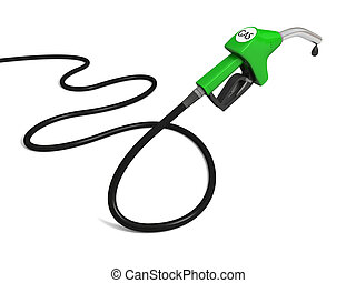 Petrol pump - Illustration of green fuel pump nozzle with...