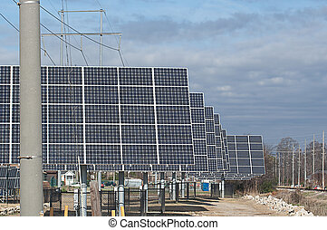 Rows of Solar Energy Panels