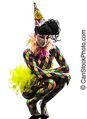 mulher, arlequim, Circo, dançarino, Artista, silueta